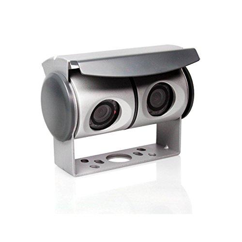 Caratec Safety CS100TU Farb-Twin-Kamera mit 2-Fach Umschaltbox, 110°, IR-LED-Beleuchtung, Rückfahrkamera mit Zwei Kameras, Silber