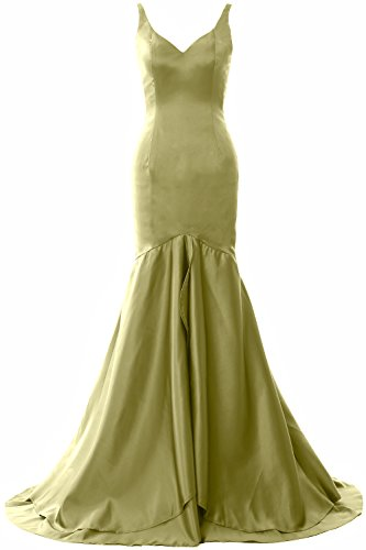 MACloth Women Mermaid V Neck Satin Long Prom Dress Tiered Formal Evening Gown Olive Green