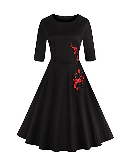 YiLianDa Damen Kleider 3/4 Arm Knielang Abendkleid Minikleid Festlich Cocktail Party Schwarz L