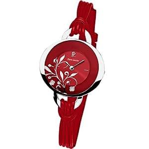 Pierre Lannier - 042F655 - Montre Femme - Quartz Analogique - Cadran Rouge - Bracelet Cuir Rouge