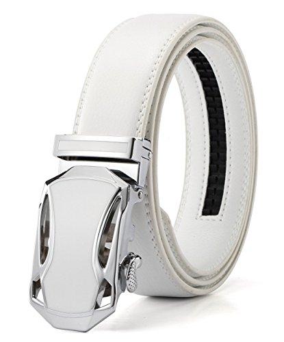 Xhtang-Ledergürtel Herren Automatik Gürtel mit Automatikschließe-3,5cm Breite S - Weiß - Länge 110cm (Geeignet für 30-36 taille)