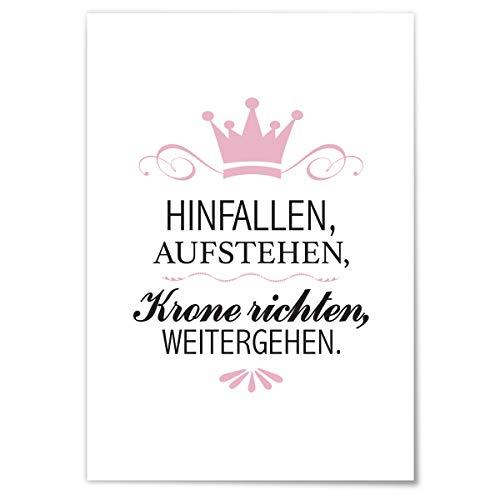 JUNIWORDS Poster mit/ohne Holzrahmen - Wähle ein Motiv - Hinfallen, Aufstehen, Krone richten, Weitergehen. - Wähle eine Größe - 21 x 30 cm (S) ohne Rahmen