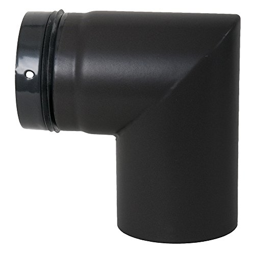 Ofenrohr, Bogen für Pelletofen, geschweißt, 90°, ø 80 mm, Steckrichtung zum Schornstein mattschwarz (emailliert)
