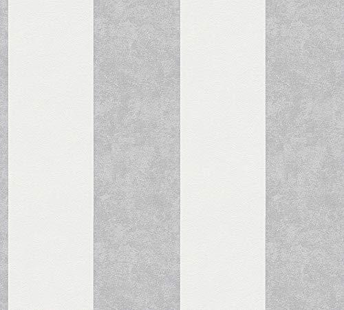 A.S. Création Vliestapete Memory Tapete mit Blockstreifen 10,05 m x 0,53 m creme grau weiß Made in Germany 329902 32990-2