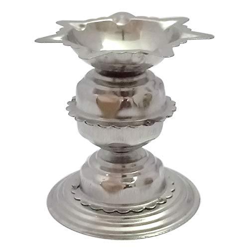 YADNESH Diyas aus Edelstahl für Pooja - Deepak für Puja Aarti - Öllampe - Pooja Artikel Dekorationsartikel - Hauserwärmungsdekoration Aarti Puja im Hindu-Tempel Mandir, religiöse Diwali-Geschenke