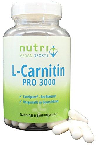 L-Carnitin Carnipure 3000 mg - höchste Bioverfügbarkeit - 120 Kapseln - Markenqualität aus Deutschland - Nutri-Plus Vegan Sports L-Carnitine Pro
