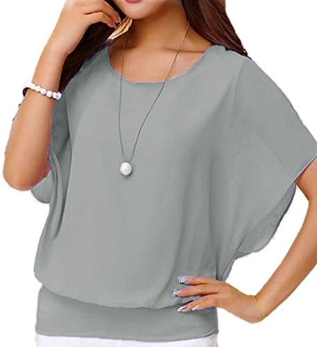 LILBETTER Damen Sommer Casual Loose Fit Kurzarm Rundhals Fledermaus Batwing T-Shirt Shirt Chiffon Top Bluse (M(EU 38-40), Grau) (Rundhals-bluse)