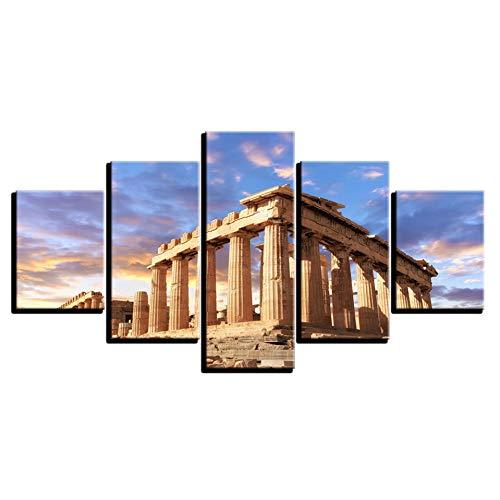 WHFDH Leinwandbild Home Wandkunst Dekoration 5 Stücke Architektonische Landschaftsmalerei Hd Print Poster