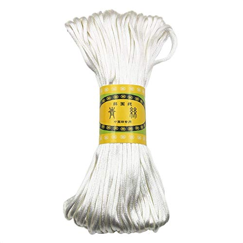 Fliyeong 3 mm 20 m chinesischer Knoten Satin Nylon geflochtene Schnur Perlenschnur DIY Craft weiß langlebig und nützlich -