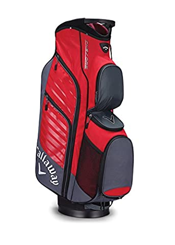 Callaway 2017 Chev ORG Cart Bag Mens Golf Trolley Bag 14-Way Divider Titanium/Red/White