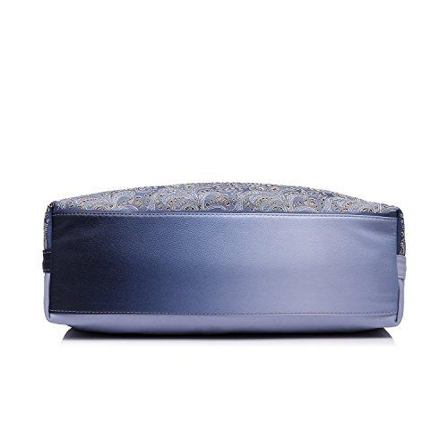 Realer Tote Borsa Donne Hollow Fiori Design Borsette in pelle sintetico per Donna Grigio Viola