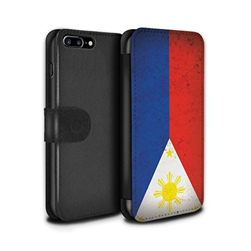 STUFF4 PU-Leder Hülle/Case/Tasche/Cover für Apple iPhone 8 / Georgien/Georgisch Muster / Asien Flagge Kollektion Philippinen
