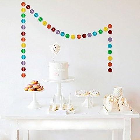SUNBEAUTY guirnalda de rodaja multicolor de 3 metros decoración para bodas Cumpleaños festivales dormitorio de niños suministros al aire