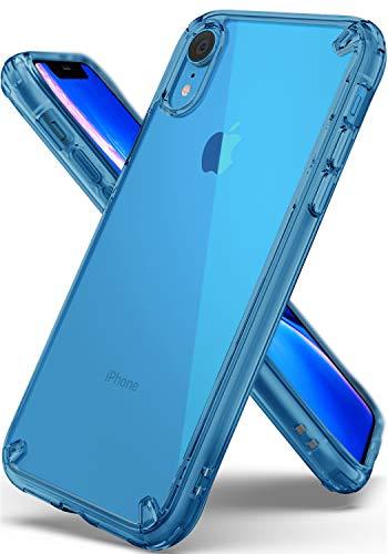 Ringke Fusion Kompatibel mit iPhone XR Hülle [Aqua Blue] Clear Hart Rückseite TPU Silikon Blau Rahmen Schutzhülle Durchsichtige Handyhülle Kratzfest Case Dünn Stoßfest