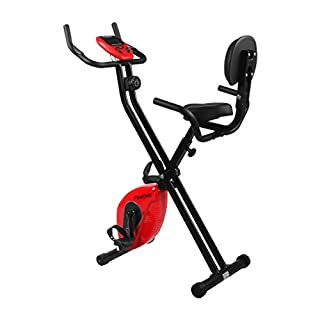 Finether Folding Adjustable Magnetic Upright Exercise Bike Fitness Equipment Work Out Machine with LCD Monitor and Pulse Sensors, 220 lbs Capacity