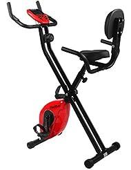 Finether-Bicicleta Estática Plegable Magnética con Respaldo Ejercicio Bicicleta Ajustable Bicicleta Gimnasio con Pantalla LCD y Sensor, Color Rojo y Negro