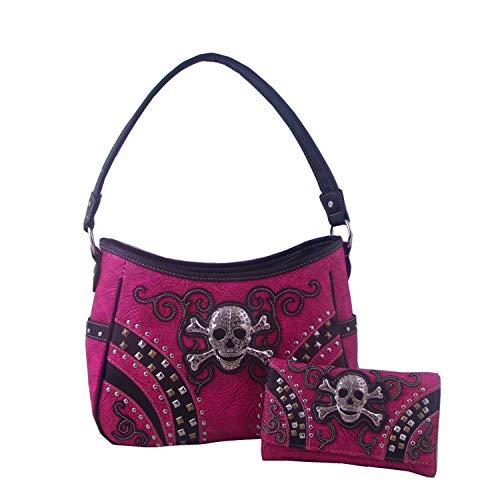 Mädchen Hobo Bag Skull and Diamonds Bag Wallet Handtaschen Kunstleder Handtaschen & Geldbörsen Geldbörsen Womans Fashion Pink Farbe