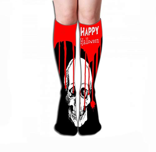 Xunulyn Hohe Socken Men Women Outdoor Sports High Socks Stocking Death Skull Dead Skeleton Halloween Cartoon Horror Design Abstract Tile Length 19.7