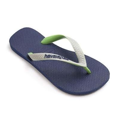 Havaianas Top Mix Navy Blue Grey Strap Flip Flops Thongs Unisex Size Brazil Beach
