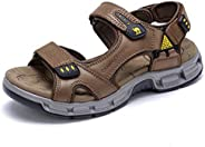 CAMEL CROWN Men Hiking Sandals Leather Waterproof with Arch Support Open Toe Outdoor Strap Lightweight Athleti