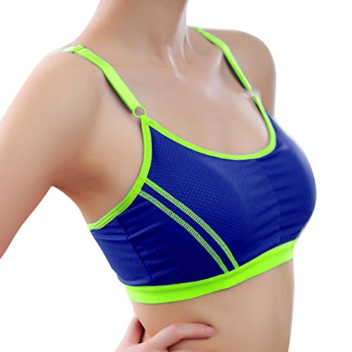 OVERMAL Femmes Sport Yoga Athletic Solid Wrap Chest Strap Vest Tops Soutien-gorge Bleu