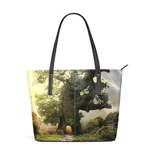 Beautiful Fairy Home Tree Portemonnaie PU Leder Schulter Tote-Tasche für Damen Mädchen Damen