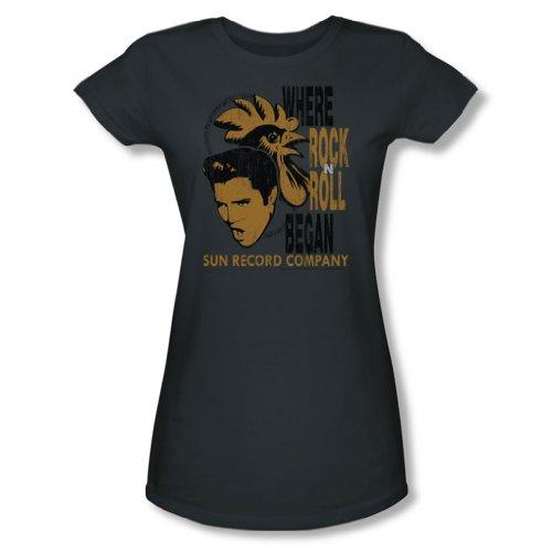 Sun Records - Elvis & Rooster junge Frauen T-Shirt in der Holzkohle, X-Large, Charcoal