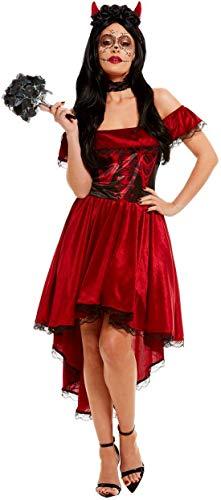 Fancy Ole - Damen Frauen Frauen Day of The Dead Teufelinnen Devil Kostüm, Kleid mit Halsband und Hörnern, perfekt für Halloween Karneval und Fasching, L, Rot