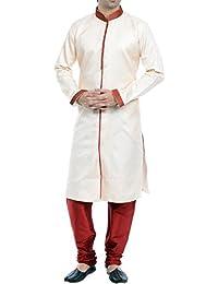 VASTRAMAY Men Silk Cotton Sherwani Style Kurta Set (Gold_VASMSW002nPMA)