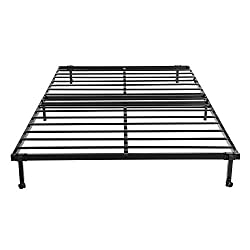 EGGREE 4FT6 Double Folding Bed Frame Metal Bed Base with Lockable Wheel Guest Bed Portable Bed- Black 196 x 140cm