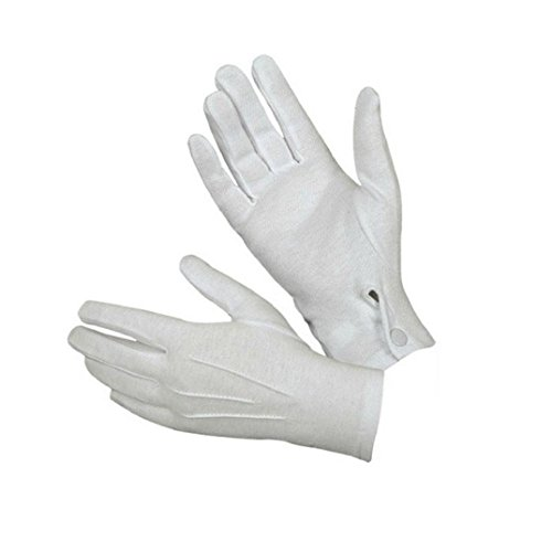 Oyedens Weiße Formale Handschuhe für Gastronomie, blaskapelle, sankt, Paraden, Inspektion, Zauberer, smoking Formale, Kostüm, Militär, Pförtner, Feuerwehr oder Polizei Uniform (Zauberer Handschuhe Weiße)