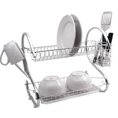 2 TIER CHROME DISH DRAINER PLATE GLASS CUTLERY UTENSIL CUP RACK HOLDER SINK DRIP TRAY (Plate Organiser) with White Removable Drip Tray