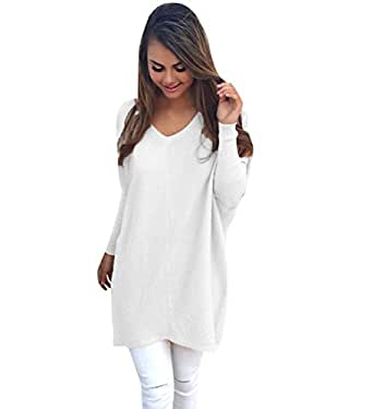 e1dc41e823 Womens Long Knitted Jumpers For Women Ladies Sweater Knitwear Knit V Neck  Long Sleeve Longline Jumper Dress Casual Sweaters Warm Loose Jumpers Autumn  Winter
