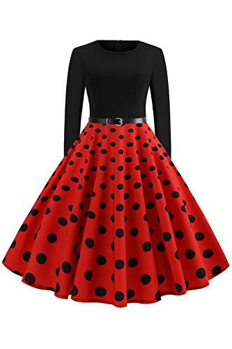 Babyonlinedress® Damen Rockabilly Kleid 50er Polka Dots Petticoat Punkte Vintage Kleider Cocktailkleider Tellerrock Rot GR.L -