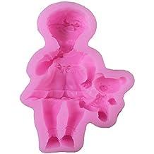 Ruby569y Molde cortador de galletas para hornear, silicona de grado alimenticio 3D para bebé niña
