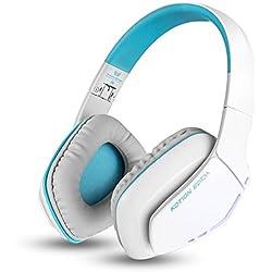 KOTION CADA b3506 V4.1 Bluetooth auriculares Gaming auriculares con micrófono plegable, 8 horas de tiempo de reproducción para iPhone Android ordenador y más (azul) … (3506White)