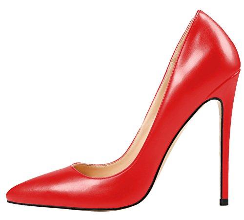 MONICOCO Übergröße Damenschuhe Spitze Zehen Stiletto Pumps für Party Hochzeit Rot PU 35 EU