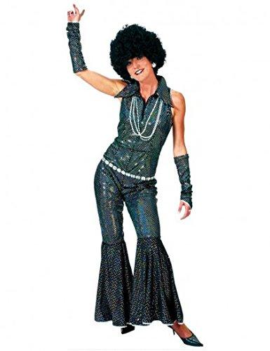 Disco Girl Anzug schwarz mit silbernen Pailletten Gr. 36 38 - Toller 70er Jahre Disco Love Anzug für Damen