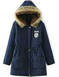 B-commerce Wintermantel - Damen Warme Lange Jacken Pelzkragen Kapuze  Schlank Warm Parka Outwear mit b3192622da