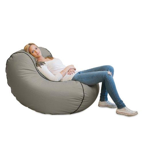 Lumaland Luxury Lounge Chair Sitzsack stylischer Beanbag 320L Füllung Grau
