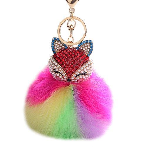 Faux-block (Bluelans Cute Fox Pom Pom Ball Strass Schlüsselanhänger Tasche Auto Ring Schlüsselanhänger COLOR BLOCK zum Aufhängen Decor, 2#, Einheitsgröße)
