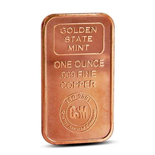 Precious & valuable metals Lingote de Cobre Puro de UNA Onza, Fabricado por la Golden State Mint (USA) -
