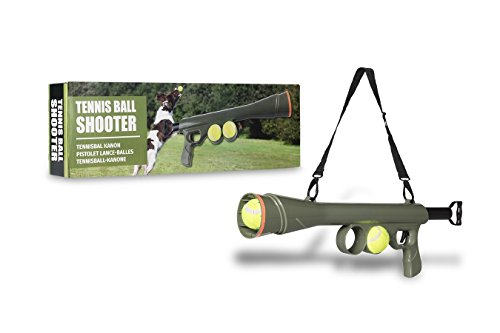 Tennisball-Kanone mit 15 Meter Schussweite | Hundespielzeug mit 2 Tennisbälle | Ideales Outdoor-Spielzeug für den Hund | Tennisball Launcher mit Schultergurt für unterwegs | leicht zu tragen -
