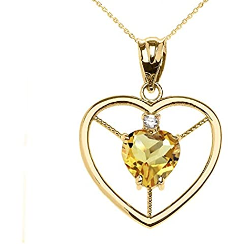 Donne Collana Pendente Elegante 14 Ct Giallo Oro Citrino E Diamante Solitario Cuore (Viene Fornito Con Una Catena Da 45cm)