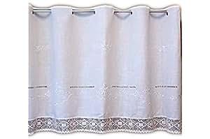 wundersch ne bistrogardine 80x150 cm scheibengardine kurzgardine gardine in wei ton in ton. Black Bedroom Furniture Sets. Home Design Ideas