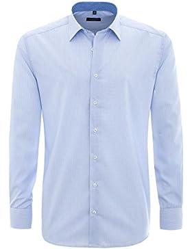 ETERNA Modern Fit Hemd Langarm mit New Kent Kragen Streifen hellblau