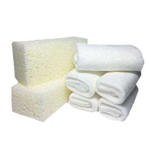 LCK Keralux Keragil Zubehör Set, 2 x Reinigungs Schwamm und 5 x Pflege Tuch (Schwamm Tuch)