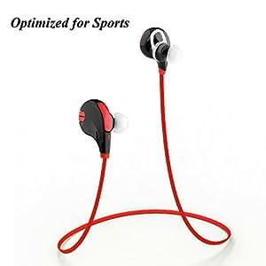 Muker Feather Bluetooth 4.1 cuffie senza fili (rosso nero) per jogging, corsa, sport, palestra con APTX, vivavoce MIC per iPhone e Android Smartphone