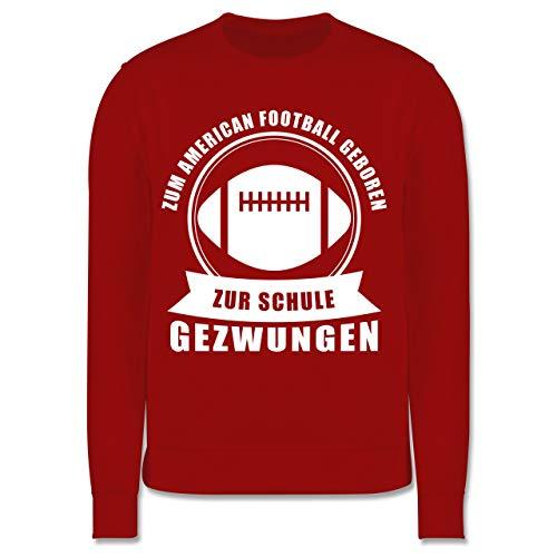 Sport Kind - Zum American Football geboren. Zur Schule gezwungen - 5-6 Jahre (116) - Rot - JH030K - Kinder Pullover (American Girl Doll Jumper)