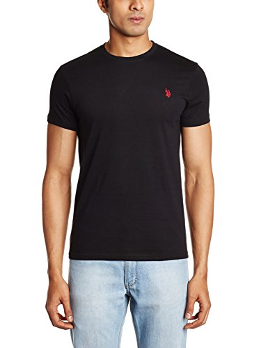 U.S. Polo Assn. Men's Crew Neck Cotton T-Shirt (I030-002-P1-M Black)  available at amazon for Rs.299